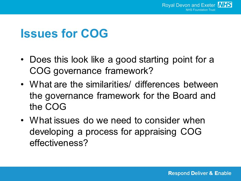 Respond Deliver & Enable Issues for COG Does this look like a good starting point for a COG governance framework.
