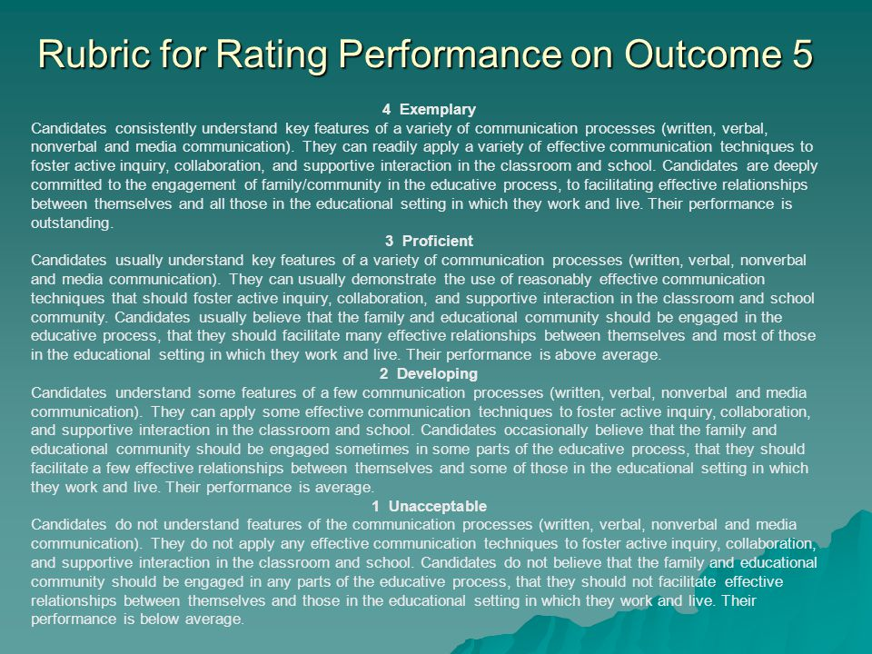 Rubric for Rating Performance on Outcome 5 4 Exemplary Candidates consistently understand key features of a variety of communication processes (written, verbal, nonverbal and media communication).