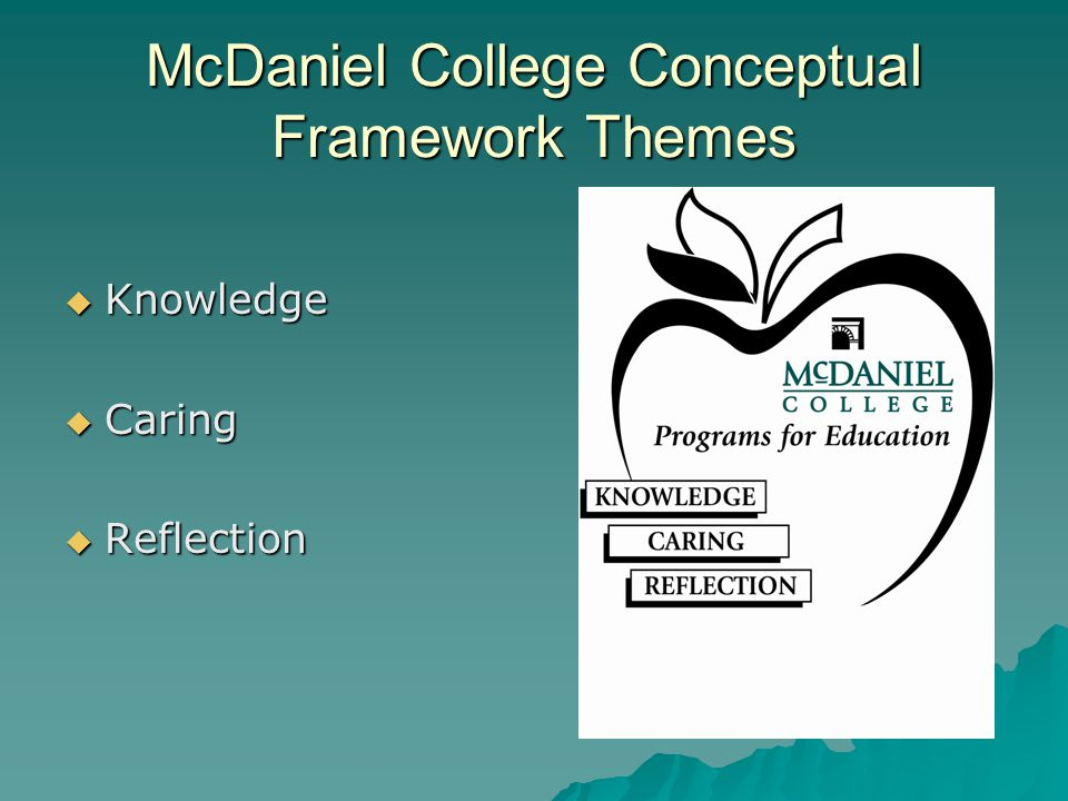 McDaniel College Conceptual Framework Themes  Knowledge  Caring  Reflection