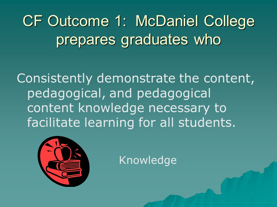 CF Outcome 1: McDaniel College prepares graduates who Consistently demonstrate the content, pedagogical, and pedagogical content knowledge necessary to facilitate learning for all students.