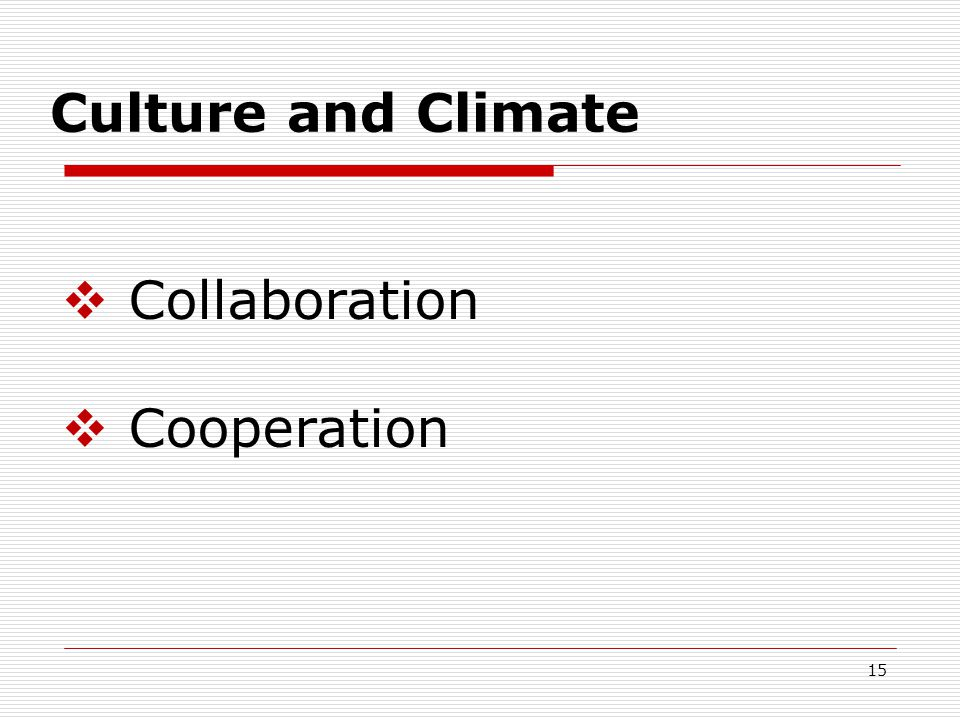 Culture and Climate  Collaboration  Cooperation 15