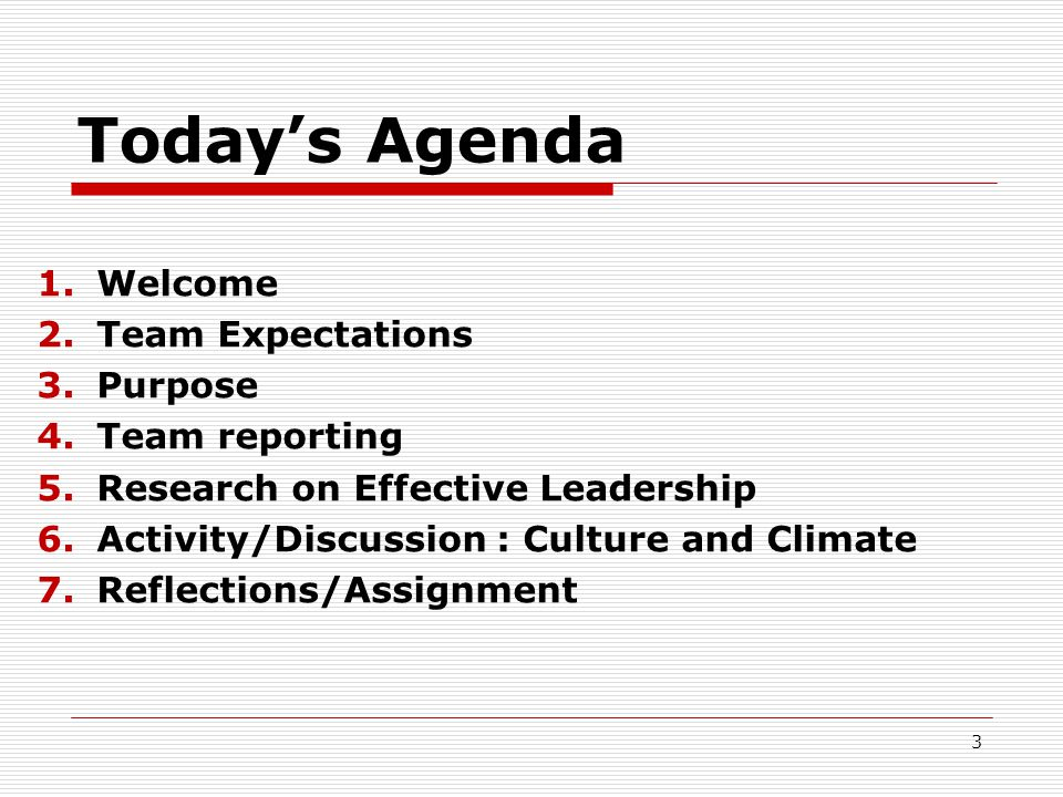 Today's Agenda 1.Welcome 2.Team Expectations 3.Purpose 4.Team reporting 5.Research on Effective Leadership 6.Activity/Discussion : Culture and Climate 7.Reflections/Assignment 3