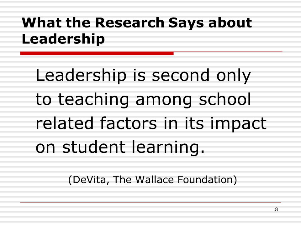 What the Research Says about Leadership Leadership is second only to teaching among school related factors in its impact on student learning.