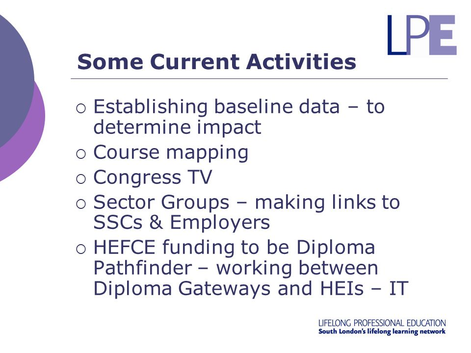 Some Current Activities  Establishing baseline data – to determine impact  Course mapping  Congress TV  Sector Groups – making links to SSCs & Employers  HEFCE funding to be Diploma Pathfinder – working between Diploma Gateways and HEIs – IT