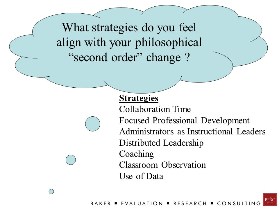 What strategies do you feel align with your philosophical second order change .