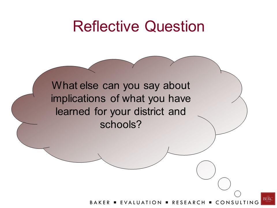 Reflective Question What else can you say about implications of what you have learned for your district and schools