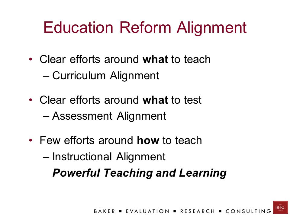 Education Reform Alignment Clear efforts around what to teach –Curriculum Alignment Clear efforts around what to test –Assessment Alignment Few efforts around how to teach –Instructional Alignment Powerful Teaching and Learning