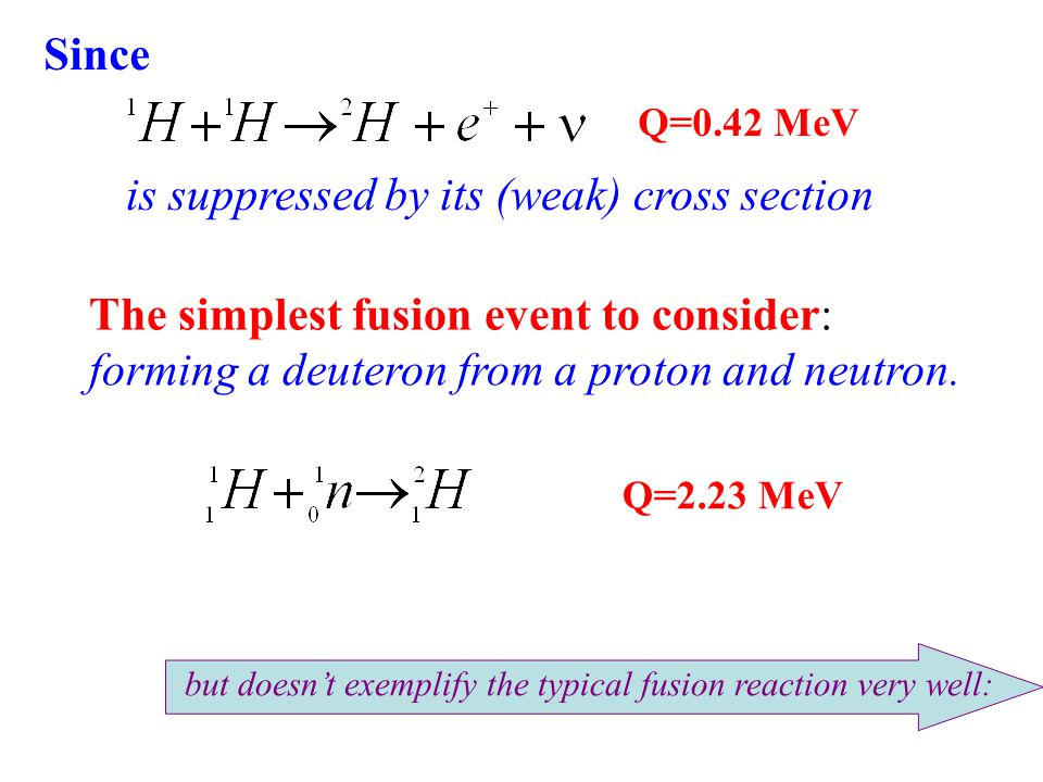 Q=2.23 MeV The simplest fusion event to consider: forming a deuteron from a proton and neutron.