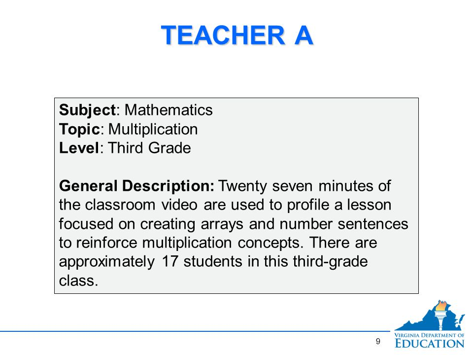 9 TEACHER A Subject: Mathematics Topic: Multiplication Level: Third Grade General Description: Twenty seven minutes of the classroom video are used to profile a lesson focused on creating arrays and number sentences to reinforce multiplication concepts.