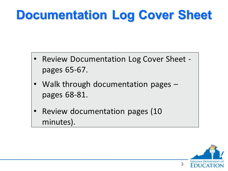 3 Review Documentation Log Cover Sheet - pages