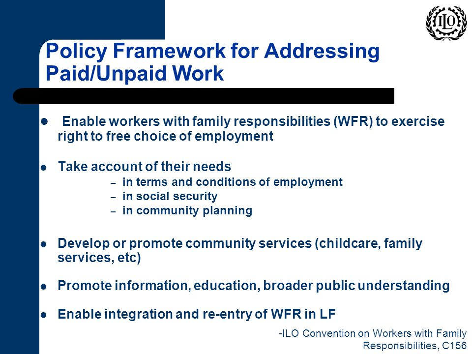 Policy Framework for Addressing Paid/Unpaid Work Enable workers with family responsibilities (WFR) to exercise right to free choice of employment Take account of their needs – in terms and conditions of employment – in social security – in community planning Develop or promote community services (childcare, family services, etc) Promote information, education, broader public understanding Enable integration and re-entry of WFR in LF -ILO Convention on Workers with Family Responsibilities, C156