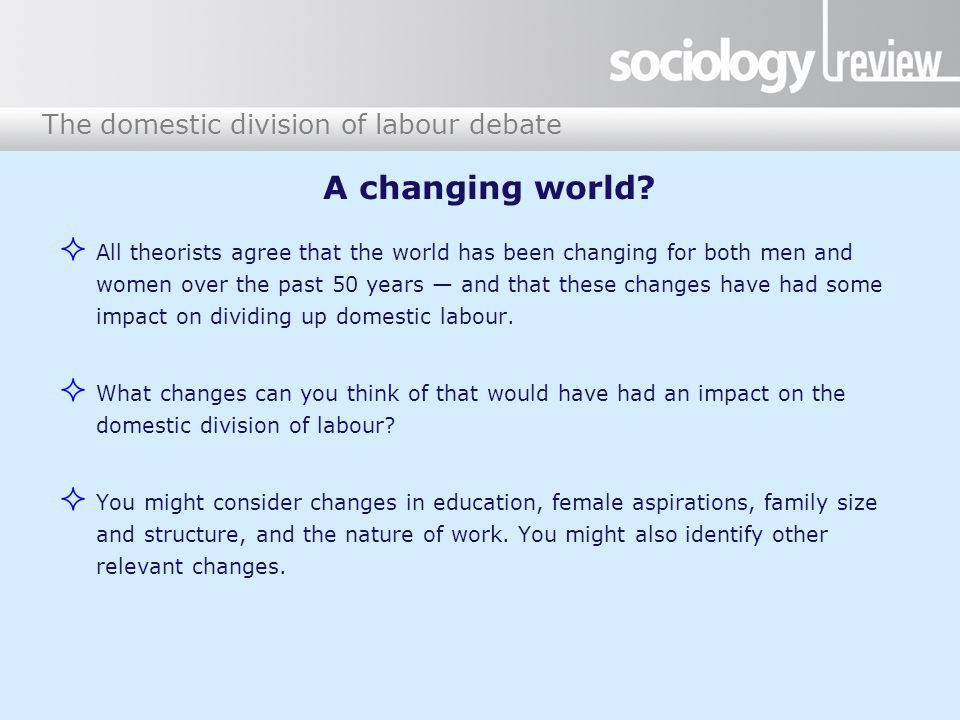 The domestic division of labour debate A changing world.