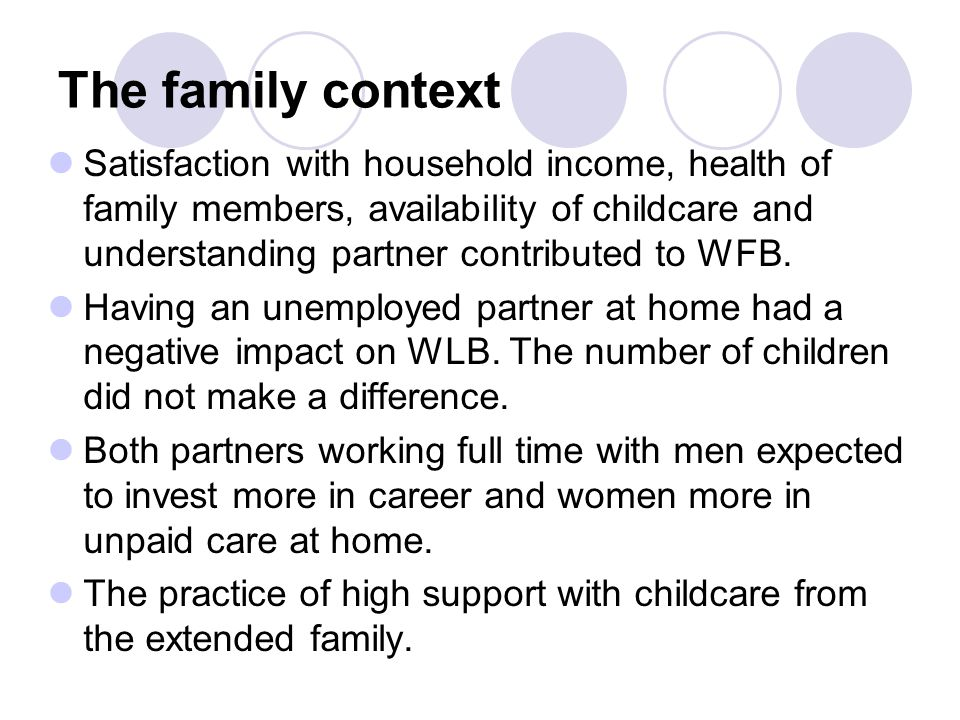 The family context Satisfaction with household income, health of family members, availability of childcare and understanding partner contributed to WFB.