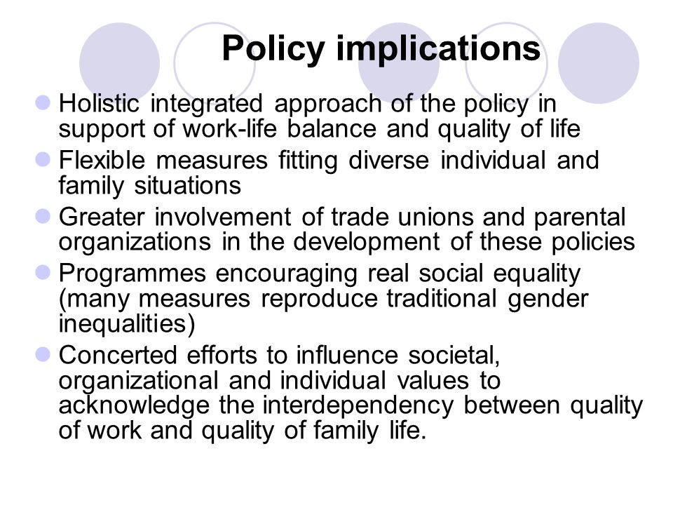 Policy implications Holistic integrated approach of the policy in support of work-life balance and quality of life Flexible measures fitting diverse individual and family situations Greater involvement of trade unions and parental organizations in the development of these policies Programmes encouraging real social equality (many measures reproduce traditional gender inequalities) Concerted efforts to influence societal, organizational and individual values to acknowledge the interdependency between quality of work and quality of family life.