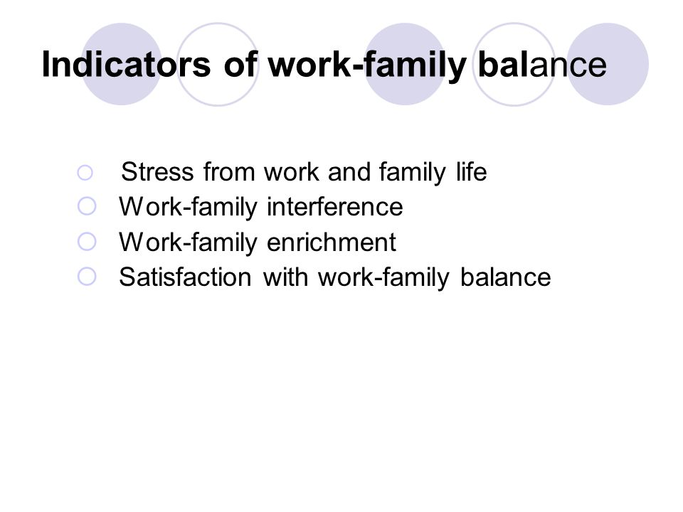Indicators of work-family balance  Stress from work and family life  Work-family interference  Work-family enrichment  Satisfaction with work-family balance
