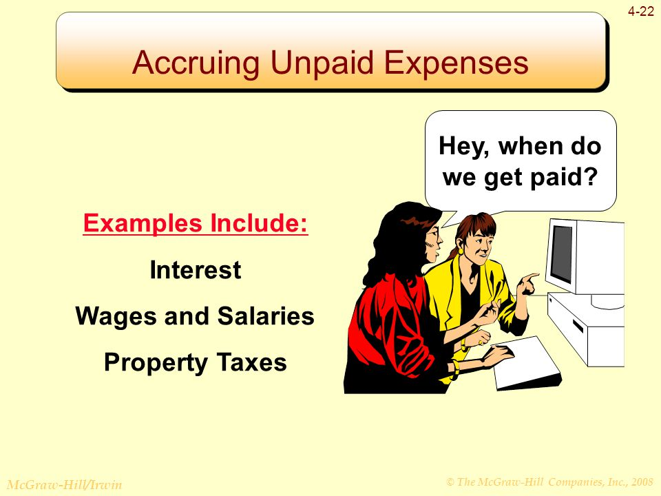 © The McGraw-Hill Companies, Inc., 2008 McGraw-Hill/Irwin 4-22 Examples Include: Interest Wages and Salaries Property Taxes Hey, when do we get paid.