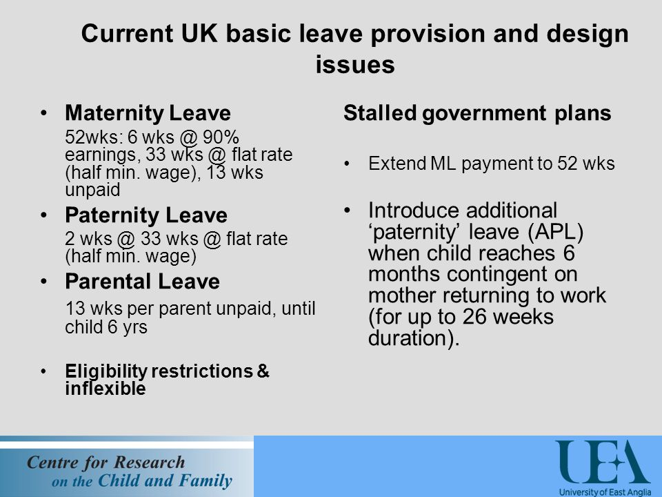 Current UK basic leave provision and design issues Maternity Leave 52wks: 6 90% earnings, 33 flat rate (half min.
