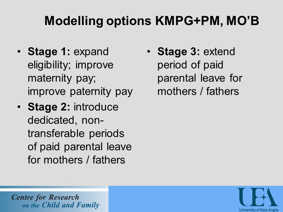 Modelling options KMPG+PM, MO'B Stage 1: expand eligibility; improve maternity pay; improve paternity pay Stage 2: introduce dedicated, non- transferable periods of paid parental leave for mothers / fathers Stage 3: extend period of paid parental leave for mothers / fathers