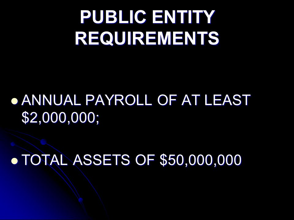 PUBLIC ENTITY REQUIREMENTS ANNUAL PAYROLL OF AT LEAST $2,000,000; ANNUAL PAYROLL OF AT LEAST $2,000,000; TOTAL ASSETS OF $50,000,000 TOTAL ASSETS OF $50,000,000
