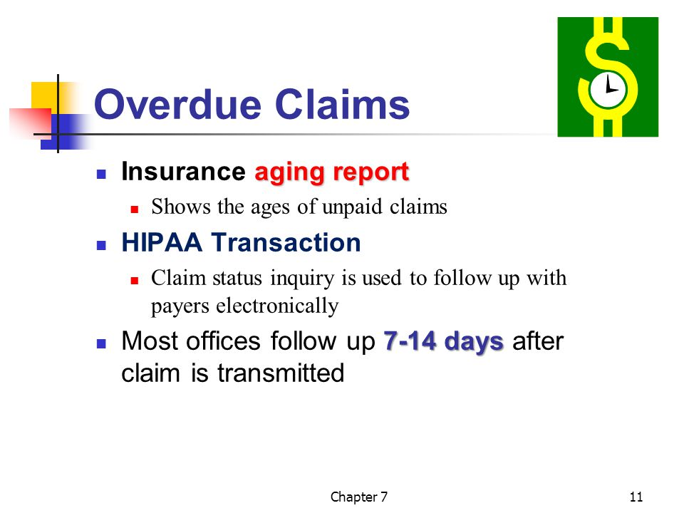Chapter 711 Overdue Claims aging report Insurance aging report Shows the ages of unpaid claims HIPAA Transaction Claim status inquiry is used to follow up with payers electronically 7-14 days Most offices follow up 7-14 days after claim is transmitted