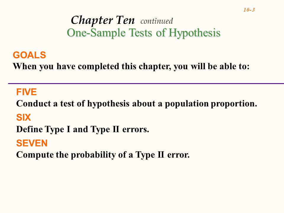 10- 3 Chapter Ten continued GOALS When you have completed this chapter, you will be able to: FIVE Conduct a test of hypothesis about a population proportion.
