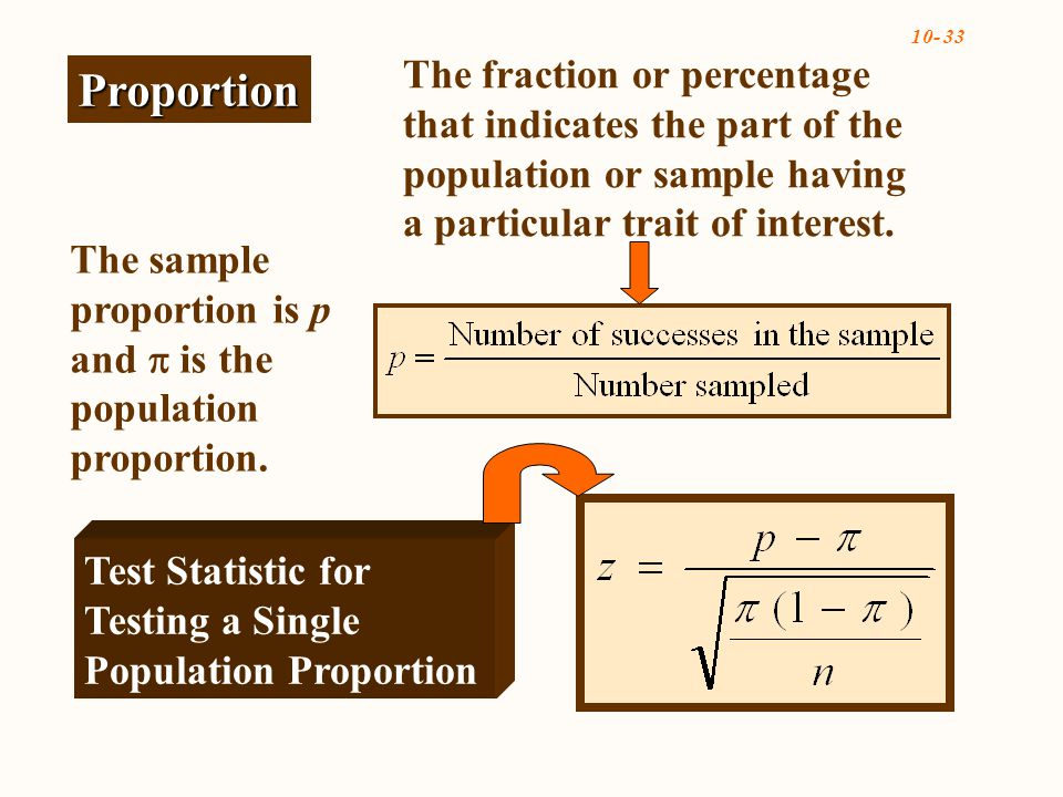 The sample proportion is p and  is the population proportion.