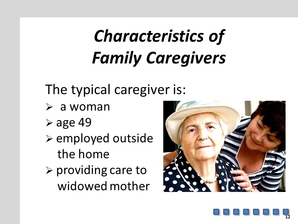 Characteristics of Family Caregivers The typical caregiver is:  a woman  age 49  employed outside the home  providing care to widowed mother 12