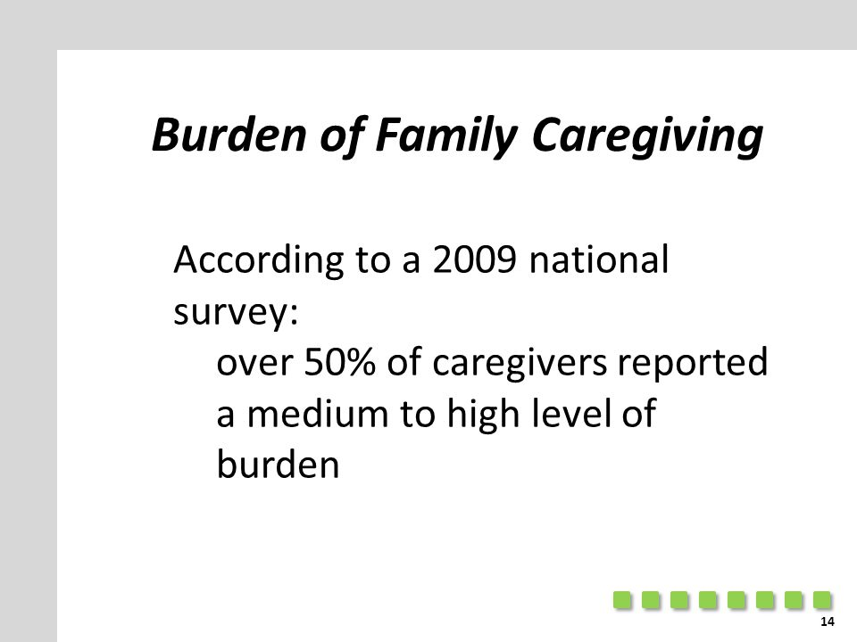 Burden of Family Caregiving According to a 2009 national survey: over 50% of caregivers reported a medium to high level of burden 14