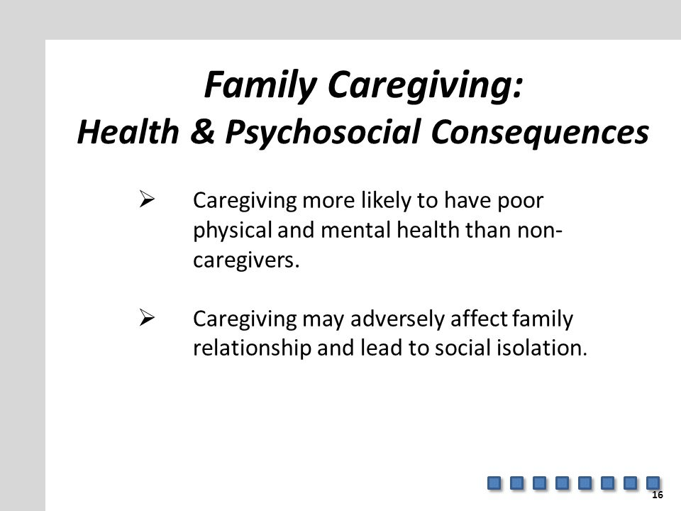 Family Caregiving: Health & Psychosocial Consequences  Caregiving more likely to have poor physical and mental health than non- caregivers.