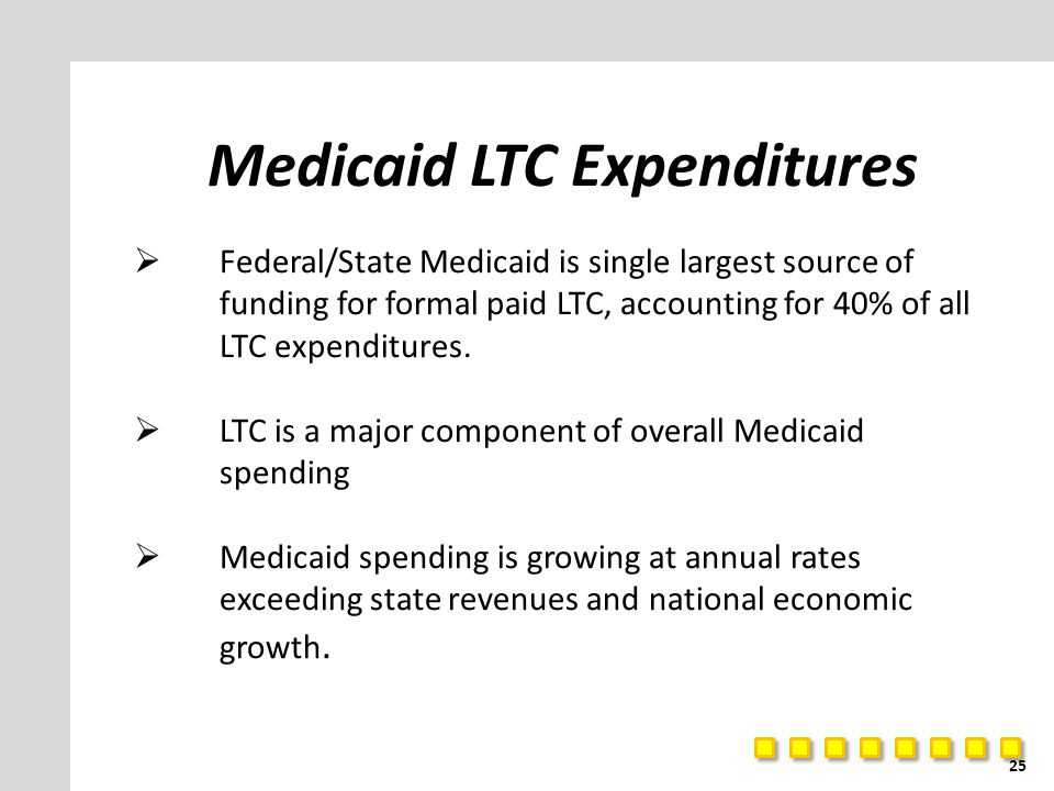 Medicaid LTC Expenditures  Federal/State Medicaid is single largest source of funding for formal paid LTC, accounting for 40% of all LTC expenditures.