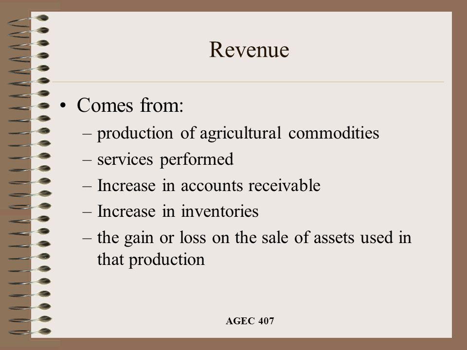 AGEC 407 Revenue Comes from: –production of agricultural commodities –services performed –Increase in accounts receivable –Increase in inventories –the gain or loss on the sale of assets used in that production