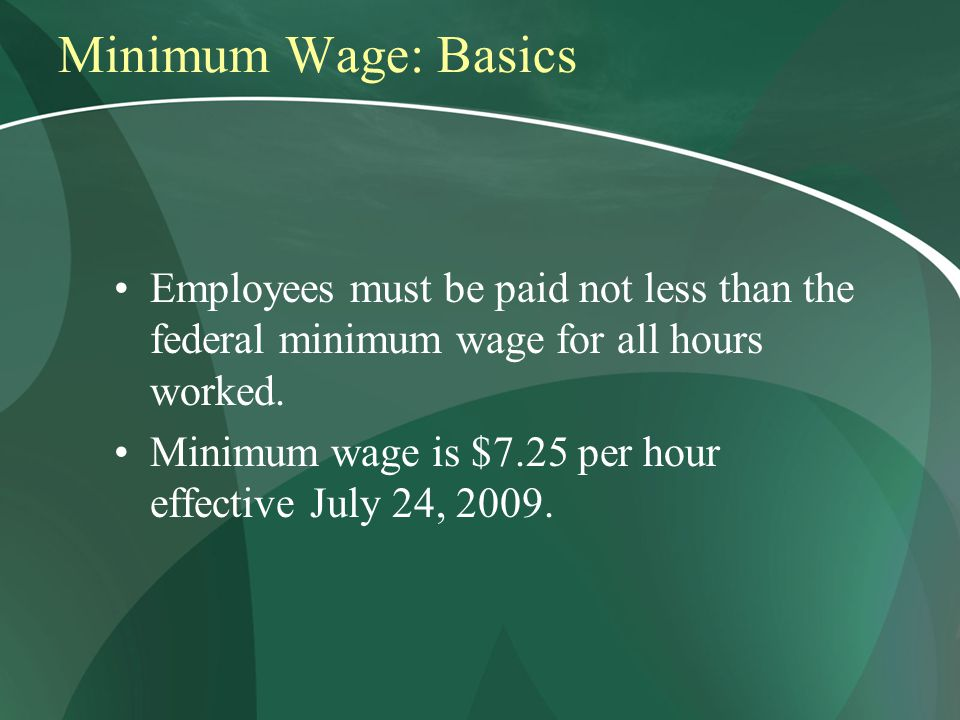 Minimum Wage: Basics Employees must be paid not less than the federal minimum wage for all hours worked.