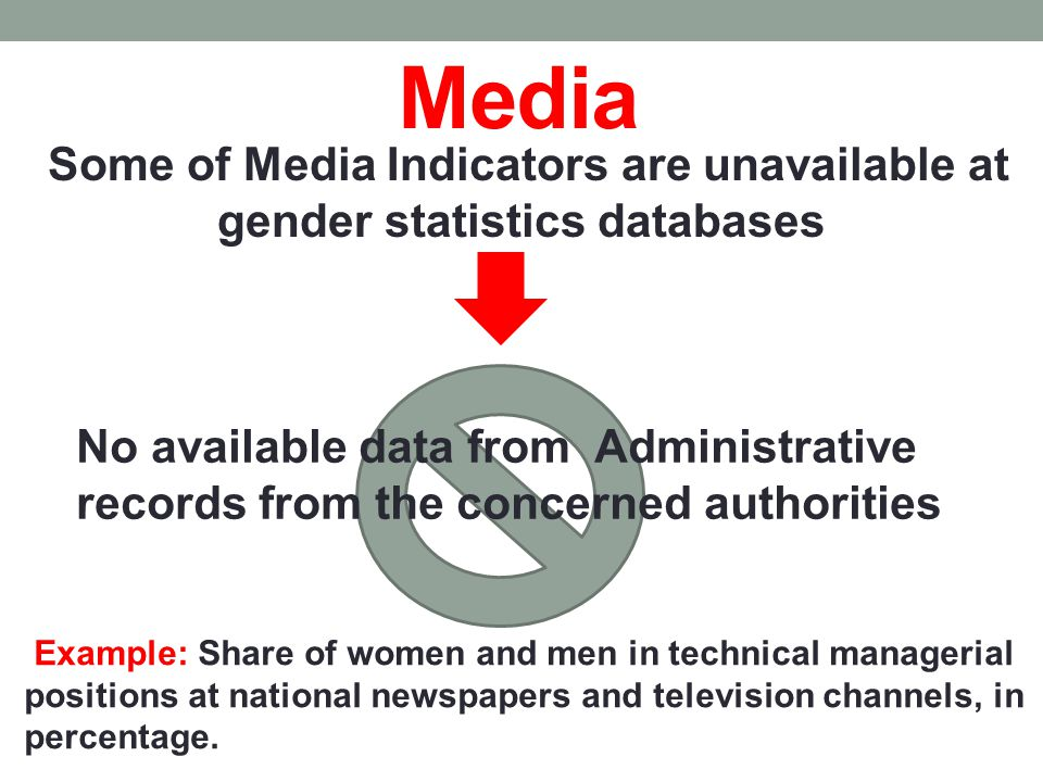 Media Some of Media Indicators are unavailable at gender statistics databases No available data from Administrative records from the concerned authorities Example: Share of women and men in technical managerial positions at national newspapers and television channels, in percentage.