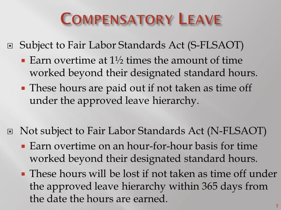 5  Subject to Fair Labor Standards Act (S-FLSAOT)  Earn overtime at 1½ times the amount of time worked beyond their designated standard hours.