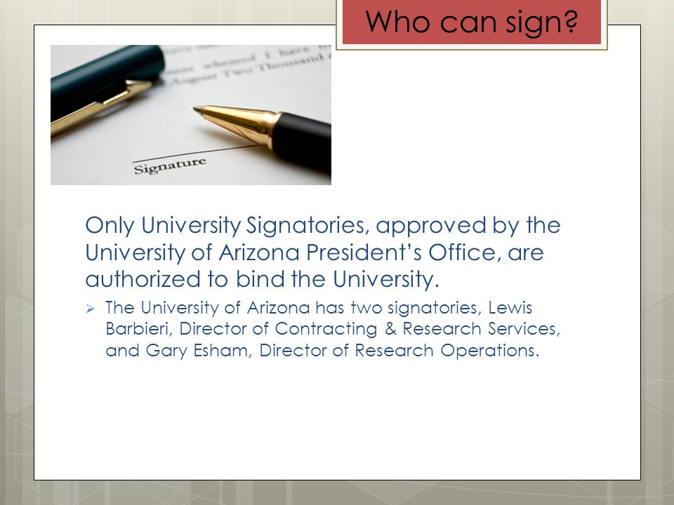 Who can sign.