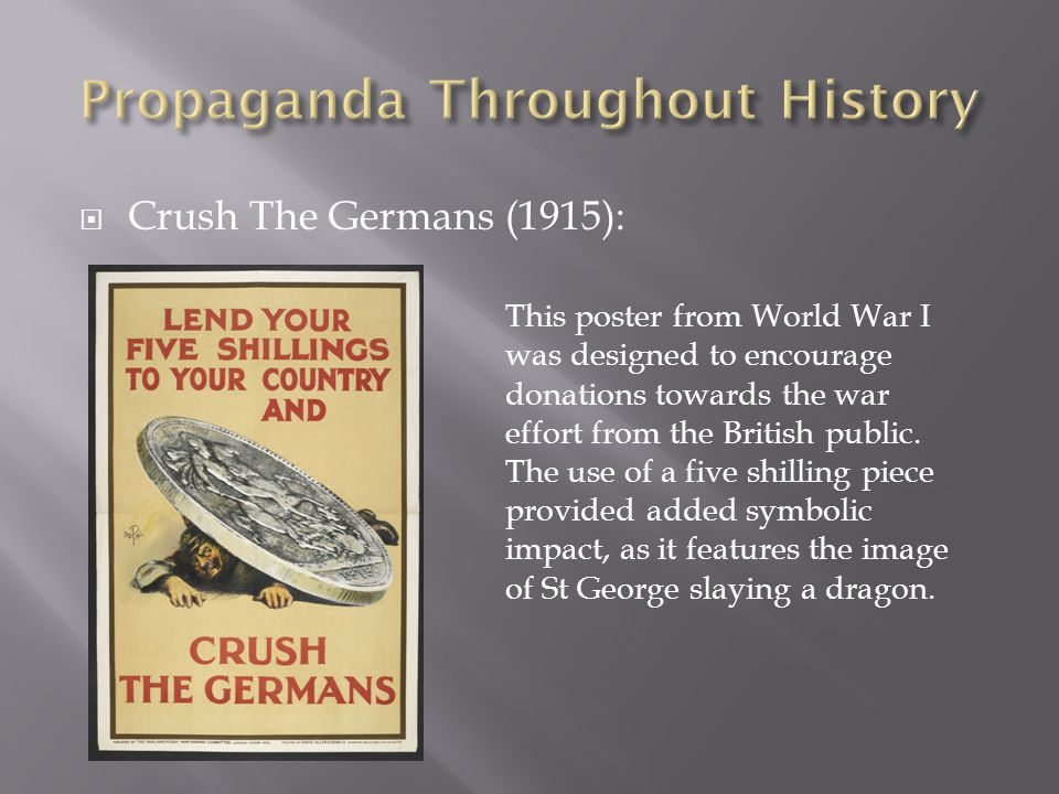  Crush The Germans (1915): This poster from World War I was designed to encourage donations towards the war effort from the British public.