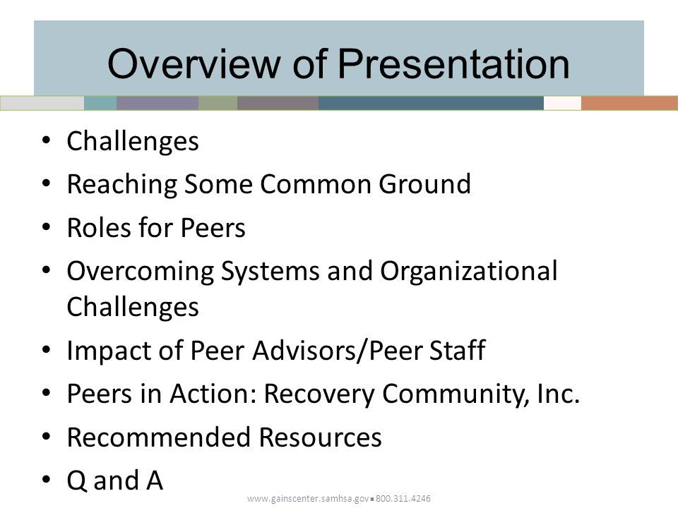 Overview of Presentation Challenges Reaching Some Common Ground Roles for Peers Overcoming Systems and Organizational Challenges Impact of Peer Advisors/Peer Staff Peers in Action: Recovery Community, Inc.