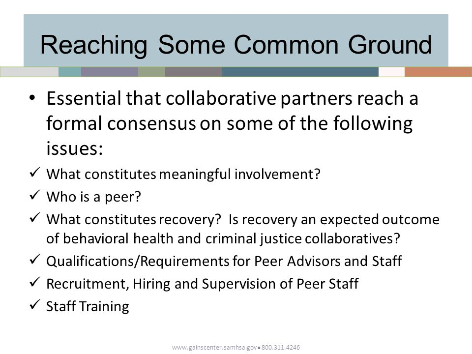 Reaching Some Common Ground Essential that collaborative partners reach a formal consensus on some of the following issues: What constitutes meaningful involvement.