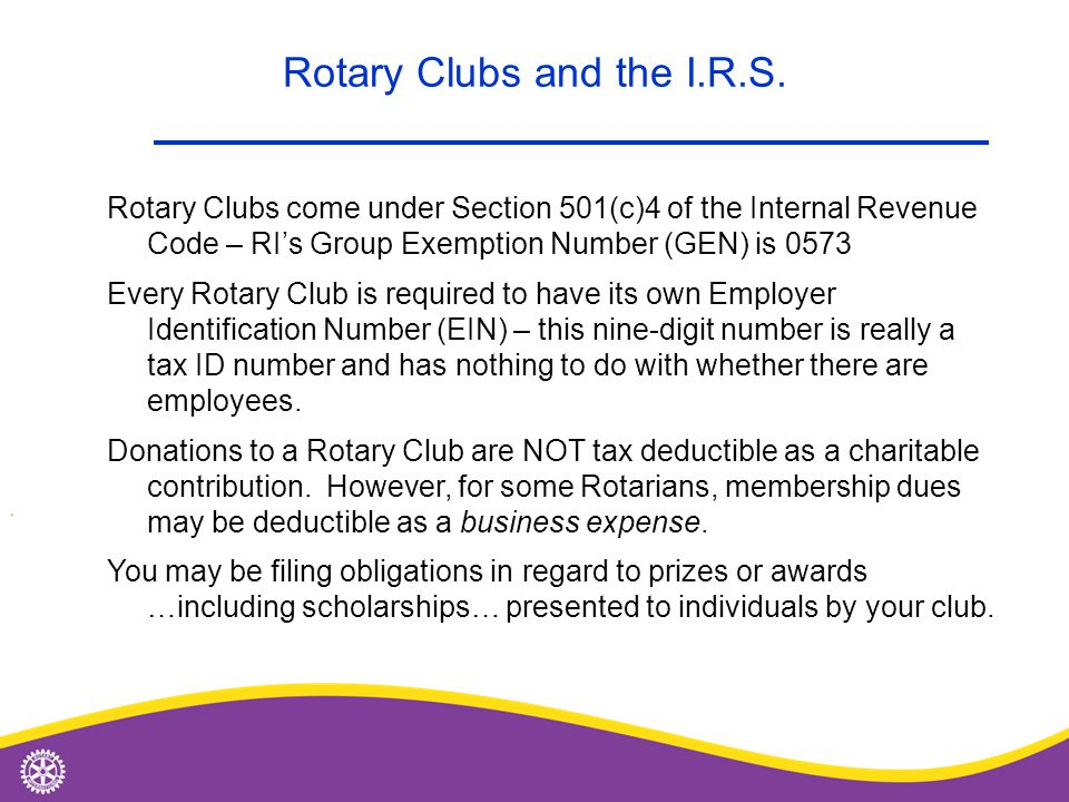 Rotary Clubs and the I.R.S.