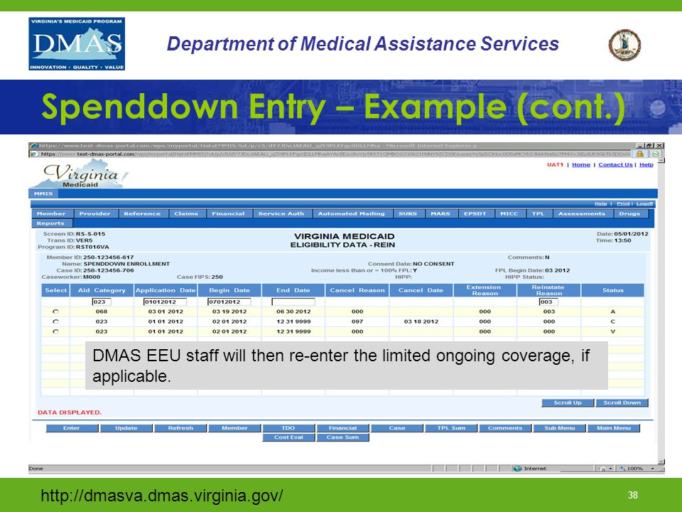 38 Department of Medical Assistance Services Spenddown Entry – Example (cont.) DMAS EEU staff will then re-enter the limited ongoing coverage, if applicable.
