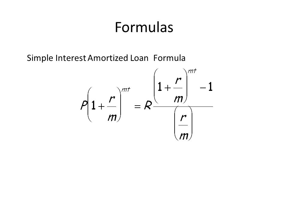 amortization formulas simple interest amortized loan formula ppt