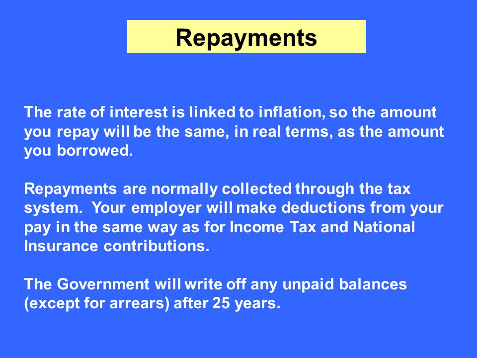 Repayments The rate of interest is linked to inflation, so the amount you repay will be the same, in real terms, as the amount you borrowed.