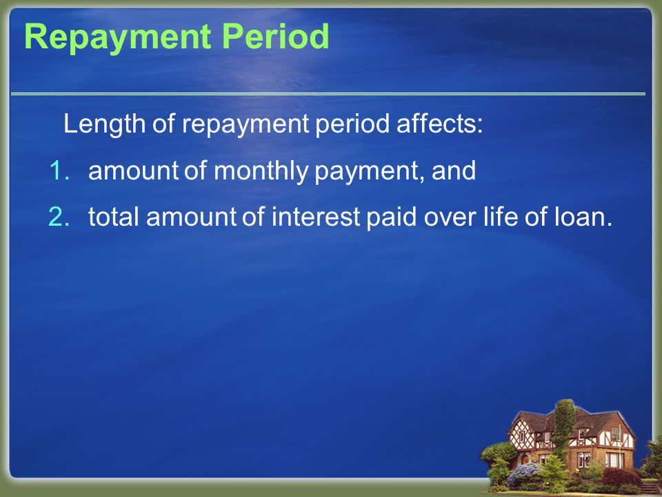 Repayment Period Length of repayment period affects: 1.amount of monthly payment, and 2.total amount of interest paid over life of loan.