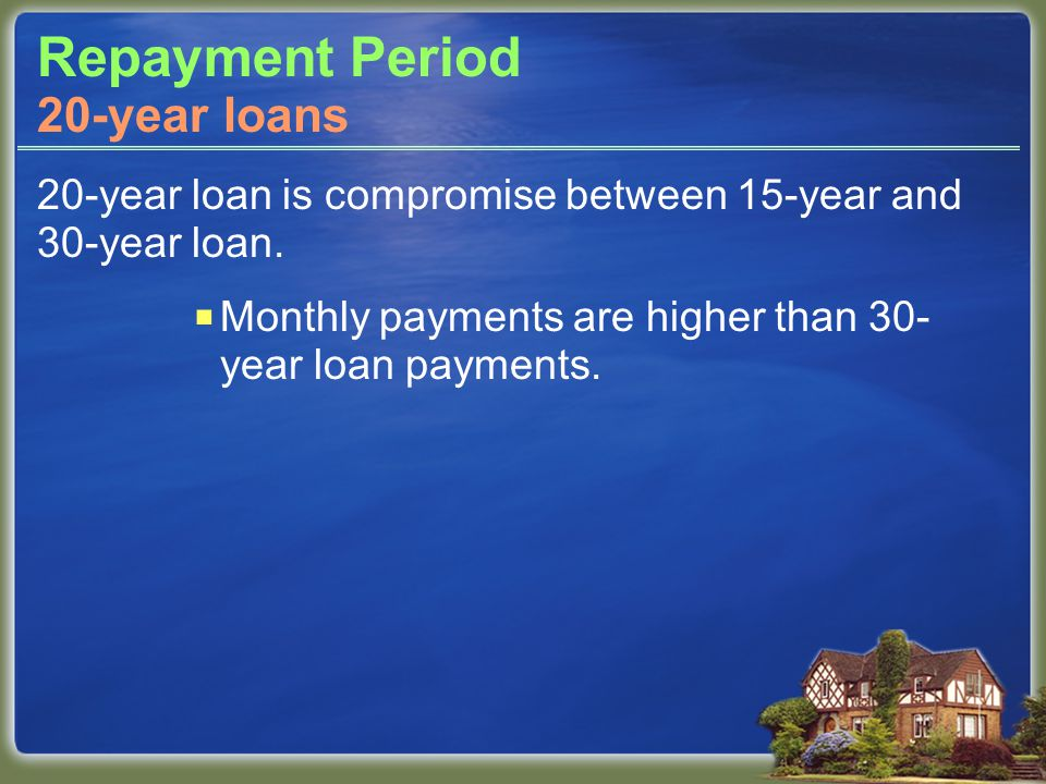 Repayment Period 20-year loan is compromise between 15-year and 30-year loan.