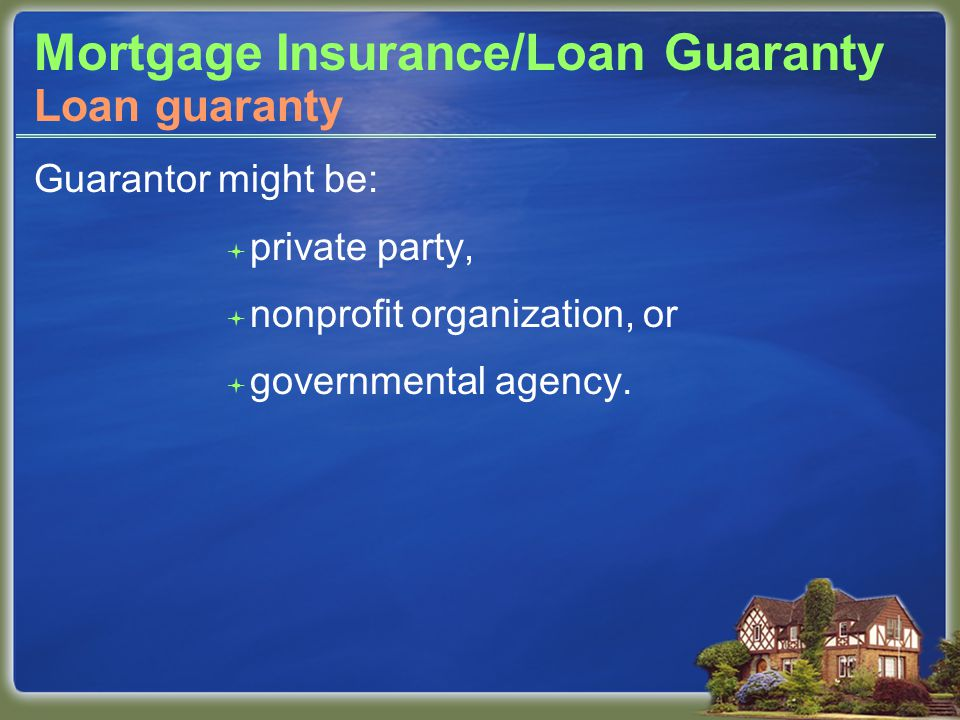 Mortgage Insurance/Loan Guaranty Guarantor might be:  private party,  nonprofit organization, or  governmental agency.