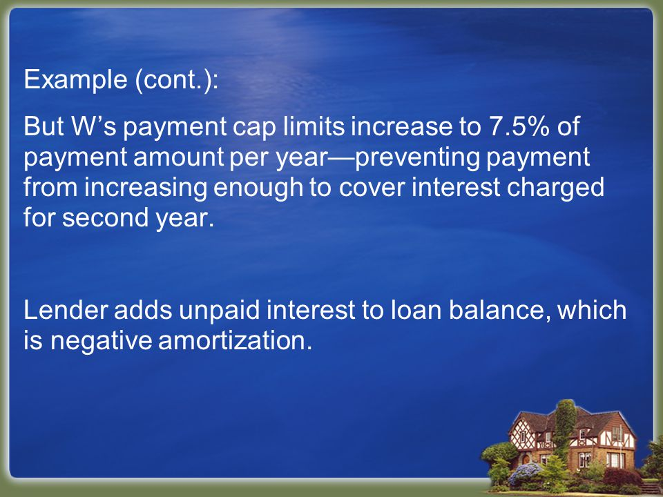 Example (cont.): But W's payment cap limits increase to 7.5% of payment amount per year—preventing payment from increasing enough to cover interest charged for second year.