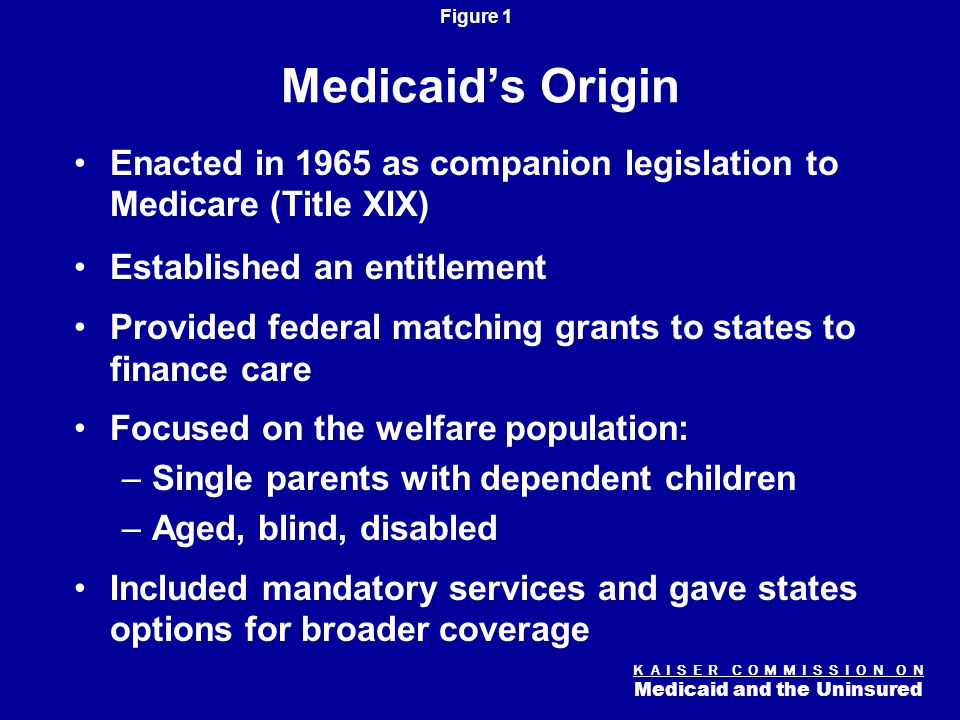 K A I S E R C O M M I S S I O N O N Medicaid and the Uninsured Figure 1 Medicaid's Origin Enacted in 1965 as companion legislation to Medicare (Title XIX) Established an entitlement Provided federal matching grants to states to finance care Focused on the welfare population: –Single parents with dependent children –Aged, blind, disabled Included mandatory services and gave states options for broader coverage