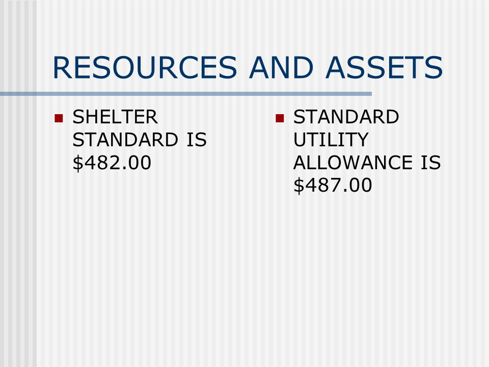 RESOURCES AND ASSETS SHELTER STANDARD IS $ STANDARD UTILITY ALLOWANCE IS $487.00