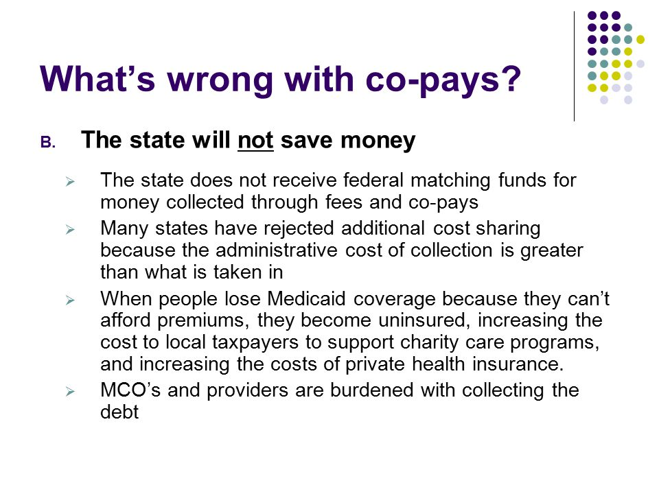 What's wrong with co-pays. B.