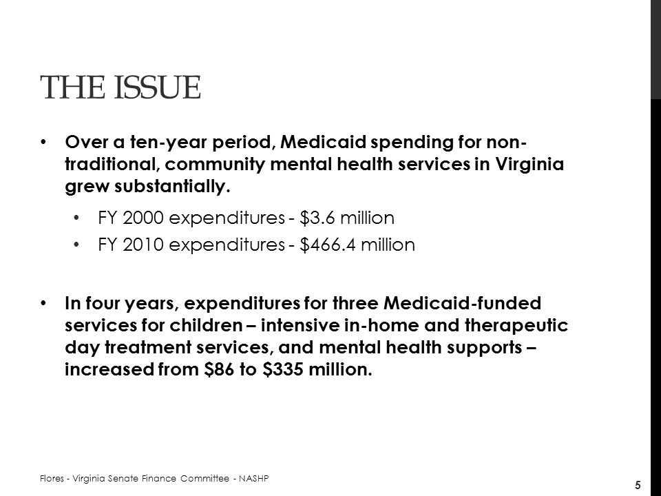 THE ISSUE Over a ten-year period, Medicaid spending for non- traditional, community mental health services in Virginia grew substantially.